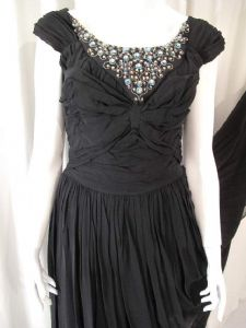 1950's midnight black georgette ruched and jewelled vintage gown **SOLD** es